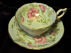 Coalport Cabinet Tea Cup & Saucer ~ Sweet Pea on Crystal Blue ~ P. from perfectlyposh on Ruby Lane