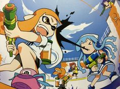 pkjd-moetron: Official Splatoon × Ika Musume collaboration illustration from Famitsu!