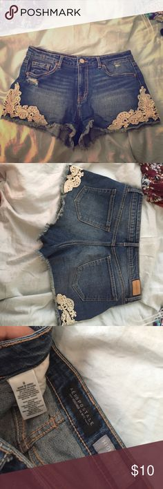 Aeropostale High Waisted Shorts w/ Crochet Worn once, bought recently. BRAND NEW!!!!! Aeropostale Shorts Jean Shorts