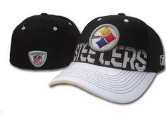Reebok NFL Pittsburgh Steelers Black White flex fit hat 10b1fab3294