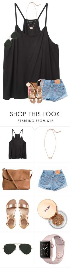 """Birthday partyy"" by mallorykennerly ❤ liked on Polyvore featuring Monki, Kendra Scott, Pieces, Levi's, Sephora Collection, Ray-Ban and Too Faced Cosmetics"
