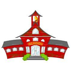 School - Illustration of cartoon school building School Staff, High School Students, Public School, Middle School, School Days, National High School, School Cartoon, School Clipart, School Calendar