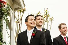 Groom turning around to see his bride walking down the aisle #groom #ceremony #firstlook