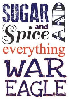 Auburn University wall decor, nursery, girls room. Sugar and spice. War Eagle!