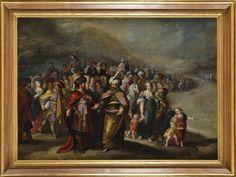 Attribué à Francken LE JEUNE (Ambrosius II Francken mort en 1632) Le Passage de la mer rouge Huile sur toile 70 x 95 cm (quelques repeints et rentoilage)  Estimation 4.000/6.000€