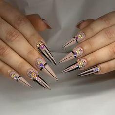 Nail Art Designs Videos, Best Nail Art Designs, Acrylic Nail Designs, Dope Nails, Glam Nails, Bling Nails, Nail Swag, Shellac Nails, Matte Nails