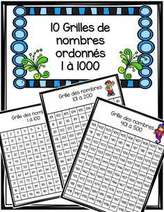 GRATUIT! Voici 10 grilles de nombres. Chaque grille comprend 100 nombres, Chaque grille est ordonnée. Vous obtiendrez les grilles des nombres allant de 1 à 1000. À utiliser dans vos centres de mathématiques ou encore à mettre dans vos cahiers d'étude.