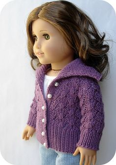 Ravelry: Helena - Lace Cardigan For 18 American Girl Dolls pattern by Steph Wylie American Doll Clothes, Girl Doll Clothes, Girl Dolls, Ag Dolls, Barbie Doll, Doll Clothes Patterns, Doll Patterns, Clothing Patterns, Lace Knitting