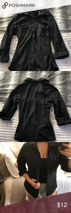 black button-down great condition, same style as the green one posted. no missing buttons 🤭 can be worn alone, open, or tied around the waist! Zac & Rachel Tops Button Down Shirts