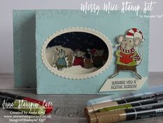 Pinkies Stampin' Up! Autumn Winter 2016 Blog Hop - Merry Mice watercolour shadow box card.