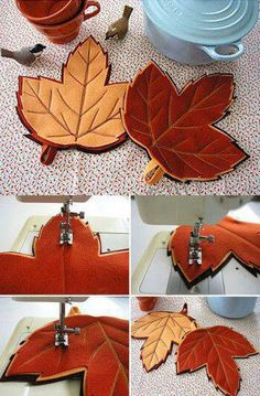Fall Felt Crafts, Autumn Crafts, Diy Arts And Crafts, Diy Crafts, Sewing Crafts, Sewing Projects, Felt Leaves, Table Runner And Placemats, Handbag Patterns