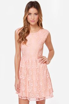 Southern Bellini Peach Lace Dress at LuLus.com! Just bought this for my gymnastics banquet!