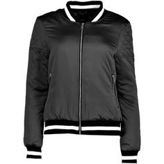 Boohoo Eleanor Quilted Sleeve Varsity MA1 Bomber | Boohoo (120 RON) ❤ liked on Polyvore featuring outerwear, jackets, puffer jacket, bomber jacket, quilted jackets, longline jacket and bomber puffer jacket