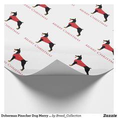 Doberman Pinscher Dog Merry Christmas Design Wrapping Paper