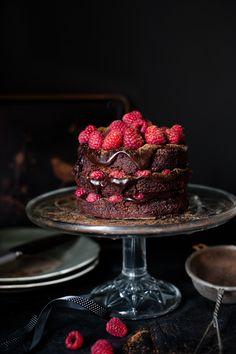 Dark chocolate and raspberry cake.