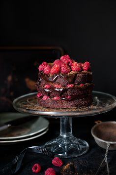 Dark chocolate and raspberry cake.