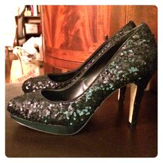 WHITE HOUSE BLACK MARKET Black Sequin Party Heels Worn only once. Super clean. Shiny pumps from White House Black Market that will elevate your height & any special occasion. Leather outsole. 3 inch heel. White House Black Market Shoes Heels