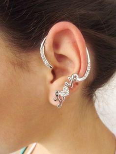 Ear Cuff Love Prateado
