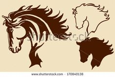 Horse Head With Flying Mane Vector Illustration - 100621129 : Shutterstock