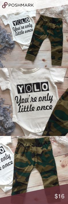 e1e2c29e4 Baby Unisex YOLO   Camo Outfit Cute gender neutral outfit features soft  white short sleeve onesie