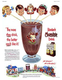 Vintage chocolate ad for Borden