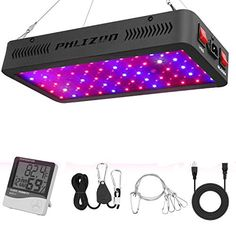 Phlizon Newest LED Plant Grow Light,with Thermometer Humidity Monitor,with Adjustable Rope,Full Spectrum Double Switch Plant Light for Indoor Plants Veg and Flower- LEDs plant grow lights Cheap Grow Lights, Indoor Grow Lights, Best Led Grow Lights, Grow Lights For Plants, Indoor Greenhouse, Greenhouse Growing, Greenhouse Ideas, Small Greenhouse, Indoor Flowering Plants