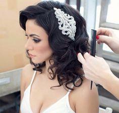 Crystal Hair Pin, Crystal Hairpiece, Wedding Hairpiece, Rhinestone Hairpiece, Hairpin - GREY