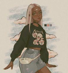 uwu When you go to a rock concert at 3 but you gotta be at the anime convention at… Black Girl Cartoon, Black Girl Art, Art Girl, Cute Art Styles, Cartoon Art Styles, Arte Grunge, Arte Sketchbook, Pretty Art, Character Design Inspiration