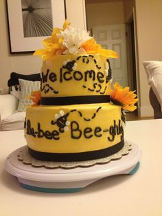 Bumble bee baby shower cake for my co-worker :)