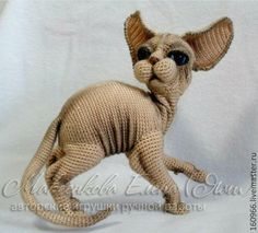 Amigurumi sphinx cat, this is amazing! Gato Crochet, Crochet Amigurumi, Crochet Bear, Amigurumi Doll, Crochet Dolls, Crochet Dog Patterns, Amigurumi Patterns, Crochet Stitches, Knit Art