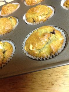 """Banana Chocolate Chip Muffins🍴🍴🍴These are simple, easy and delicious. I wanted to try a """"healthy"""" fat so I substituted avocado. I must say that although the batter had a hint of green the taste was not altered. Have had requests to make again no one in my house noticed the change!! http://forkinit.blogspot.com/search/label/breakfast Banana Chocolate Chip Muffins, Label, Healthy Fats, Change, Search, House, Avocado, Green, Simple"""