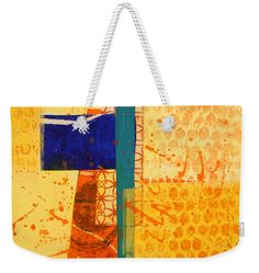 """Orange Splatter 1 Weekender Tote Bag (24"""" x 16"""") by Nancy Merkle.  The tote bag is machine washable and includes cotton rope handle for easy carrying on your shoulder.  All totes are available for worldwide shipping and include a money-back guarantee."""
