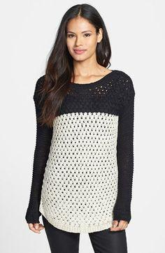 Fever Colorblock Basket Weave Sweater | Nordstrom