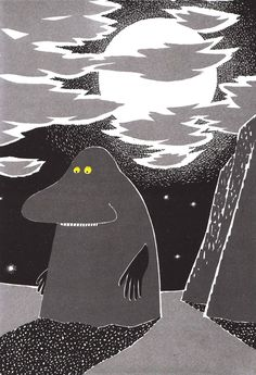 The Groke (Mårran) from the Moomin books by Tove Jansson. Moomin Books, Tove Jansson, Vintage Children's Books, Vintage Kids, Children's Book Illustration, Childrens Books, Fairy Tales, My Books, Character Design