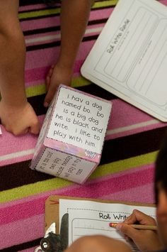 Roll, Write, Revise-sentences to be edited are taped to a tissue box and then…