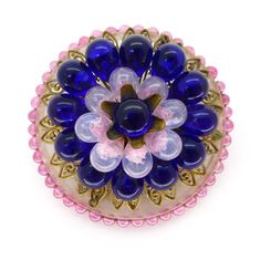 Vintage 1940s French Louis Rousselet Pink & Blue Glass Lucite Filigree Brooch | Clarice Jewellery