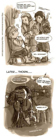 Poor Thorin ...  Journey to Bag End from brilcrist ...  Kili, dwarf, The Hobbit, Tolkien, Thorin Oakenshield, Fili, Thorin, hobbit