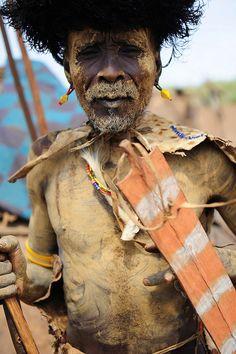 Africa |  Dassanech tribes man in ceremonial dress, Ethiopia | © Luca Gargano