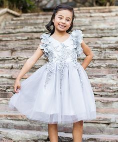 Take a look at this Silver Ariana Petal Flutter-Sleeve Dress - Toddler & Girls today!