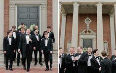 Black Ike Behar slim-fit tuxedo captured by Kristyn Hogan Photography Slim Fit Tuxedo, Black Tuxedo, Groom Style, Wedding Wear, Wearing Black, Formal Wear, Groomsmen, Real Weddings, Menswear