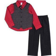 George Newborn Baby Boy 4-Piece Glen Plaid Dressy Vest Set, Size: 24 Months, Red