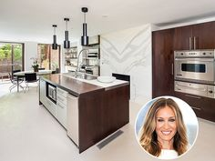 Look Inside These Gorgeous Celebrity Kitchens   SARAH JESSICA PARKER   The actress and husband Matthew Broderick's $22-million Manhattan townhouse features seven fireplaces, including one in the sleek, sophisticated kitchen. No doubt that it's a bit of an upgrade from Carrie Bradshaw's studio apartment in Sex and the City.