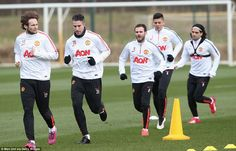 Robin van Persie (second left) returned to the squad after missing United's unconvincing F...
