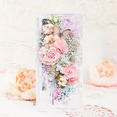 Beautiful mixed media card with prima marketing papers and flowers. #cardmaking