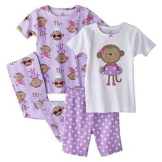 Just One You™ Made by Carter's® Infant Toddler Girls' 4-Piece Short-Sleeve Princess Pajama Set