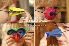 Kilka pomysłów na maski dla dzieci wykonane z opakowania po jajkach: prosta maska zasłaniająca oczy, nos Pinokia, ptasi dziobek, nosek świnki. DIY z recyklingu.  Some ideas for children's masks made of egg packaging: a simple mask covering the eyes, Pinocchio's nose, a bird's spout, a pig's nose. DIY from recycling. Diy Projects To Try, School Projects, Pinocchio, Diy Crafts, Recycling, Art, Kunst, Homemade, Diy Home Crafts