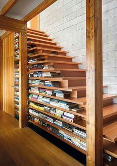bookshelf staircase and drawers under the risers - perfect!