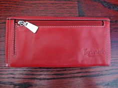 Womens Tignanello Genuine Red Leather Bi-Fold Zippered Pocket Wallet #Tignanello #Bifold