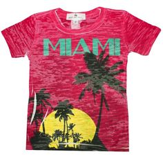 Miami Toddler Shirt by Stella Blu. Awesome 1980's Miami Vice styled toddler shirt. Palm trees, check. Sunset, check. Turquoise and Pink, check. Get your Miami vibe on now. $25