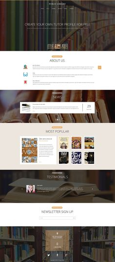 Make Use of This Public Library Website Template to Create a Functionally Rich Site with Responsive Design and Seamless Navigation. Website Layout, Website Themes, Web Layout, Layout Design, Design Ideas, Corporate Website Templates, Library Website, Mobile Web Design, Wordpress Website Design